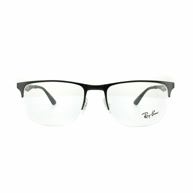 Ray-Ban Eyeglass Square Style Silver/Shiny Black Frame Color Demo lens-RX 6362 2861