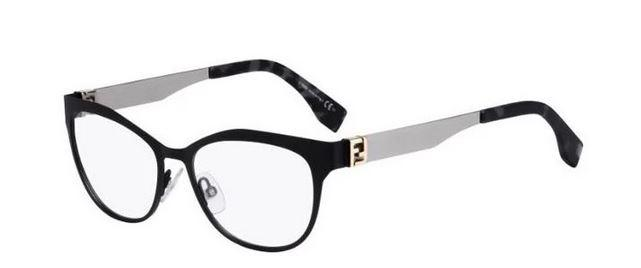 Fendi RX Eyeglass Cat Eye Style FF0114 RZZ Demo Lens - Women Eyeglass Matte Black/Ruthenium Frame