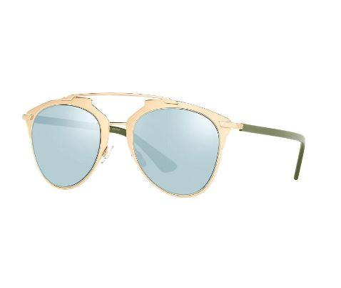 Christian Dior Sunglass - Aviator Style Rose Gold Khaki Blue Mirrored Lens - Reflected XX8 3J