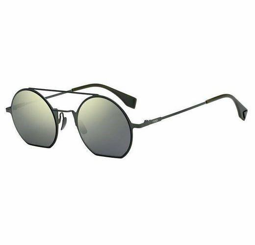 Fendi Sunglass Round Style FF 0291/S 1EDQU 48 Green Color | Yellow Green Flash Grey Lens