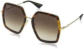 Gucci Sunglass Square Style Havana/ Gold Color Brown Gradient Lens - GG0106S 002 56