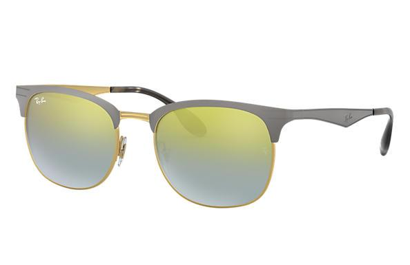 Ray-Ban Sunglass Square Style Grey Gold Color Green Silver Gradient Mirrored - RB3538 9007A7 53