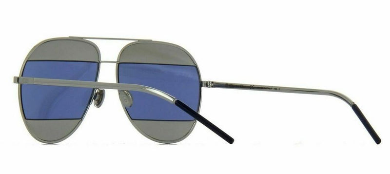 Christian Dior Sunglass - Aviator Style Palladium Metal Frame with Silver/Blue Mirrored Lens - Split 1 0103J