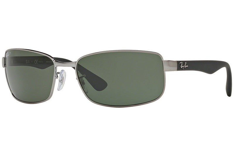 Ray-Ban sunglass Rectangular Style  Black / Silver Frame Color Green Lens - RB3478 004/58
