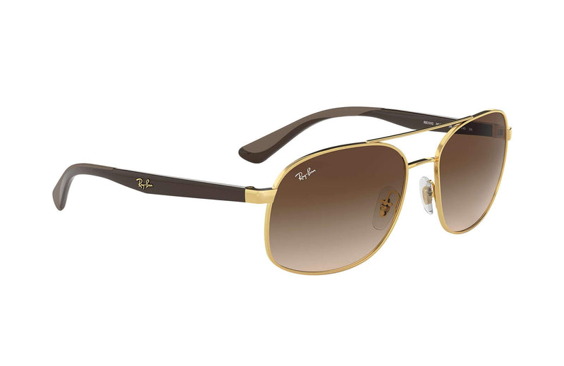 Ray-ban Sunglass Square Style Gold Brown Frame Color Brown Lens -RB3593 001/13 58MM