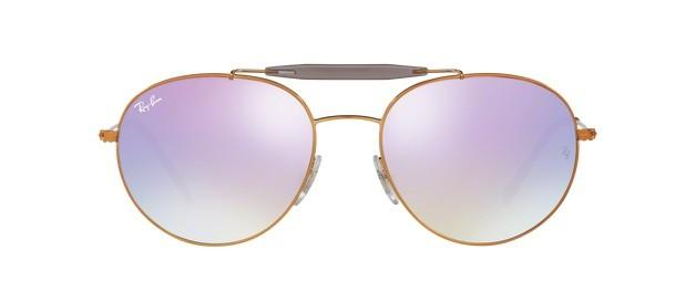 Ray-Ban Aviator Style Shiny Bronze Frame Color Lilac Flash lens - RB3540 198/7X 56MM