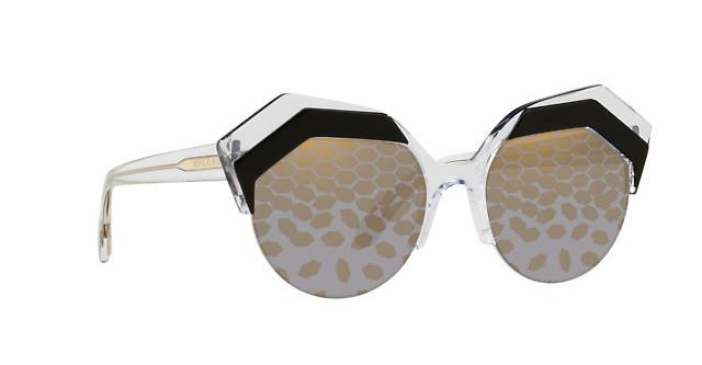 Bvlgari Sunglass | Cat Eye Style Black/Crystal Mirrored BV8203 569/T9