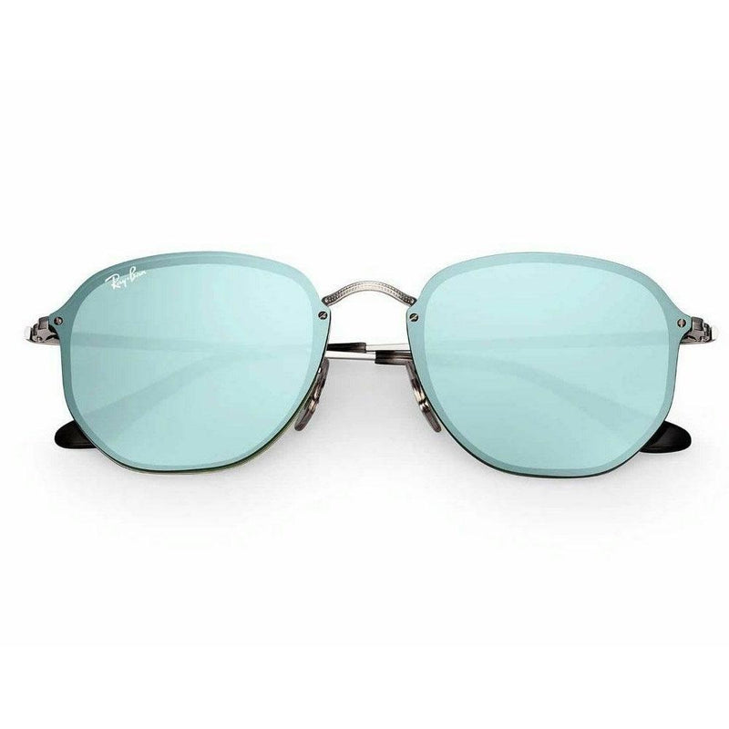 Ray-Ban Sunglass Blaze Hexagonal Square Style  Silver Frame Color  Green / Silver Lens - RB3579N 003/30 58
