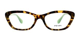 Prada Eyeglass Cat Eye Style Spotted Brown/Green Frame Color - PR03QV UEZ1O1 54MM