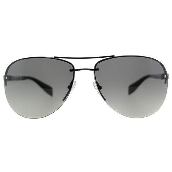 Prada Sunglass Linea Rossa Aviator Style Gunmetal Black Color Grey Lens - PS56MS 5AV3M1 62