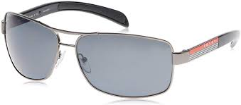 Prada Sunglass Linea Rossa Rectangular Style Gunmetal Frame Color Grey Lens-PS54IS 5AV5Z1 65MM