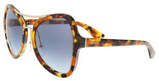Prada Sunglass Butterfly Style Spotted Havana Frame Color Blue Lens - pr18ss-uf34r2-55mm