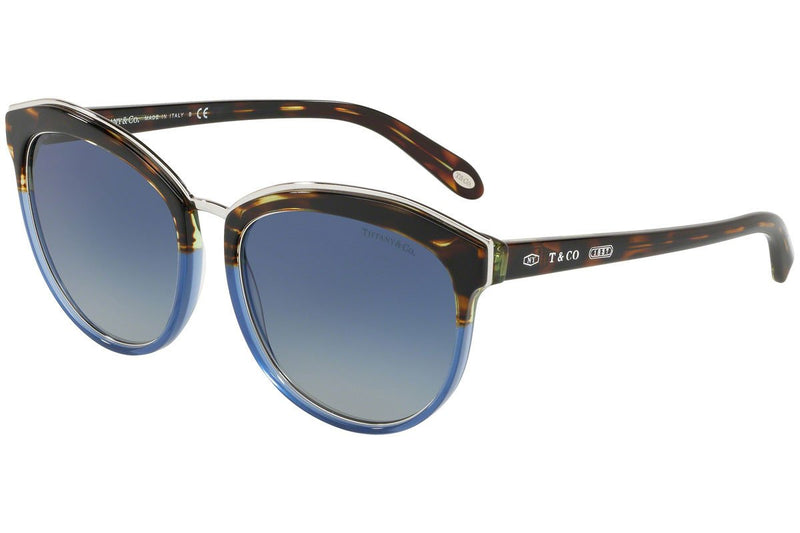 Tiffany & Co Sunglass | Cat Eye Style Havana Blue / Grey Blue TF4146 82464L 56