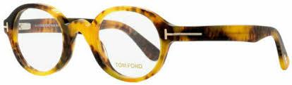 Tom Ford Eyeglass Round Style Honey Havana Frame Color - FT5490 056 46