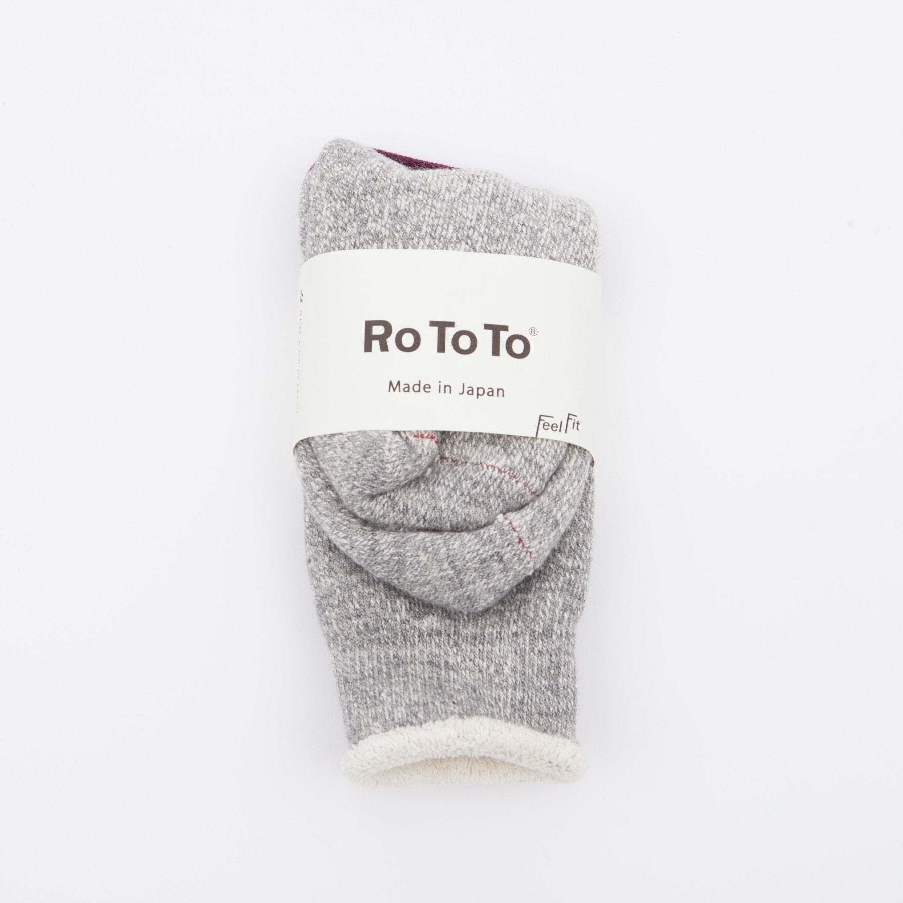 Rototo // Double face merino socks - Mid-Grey