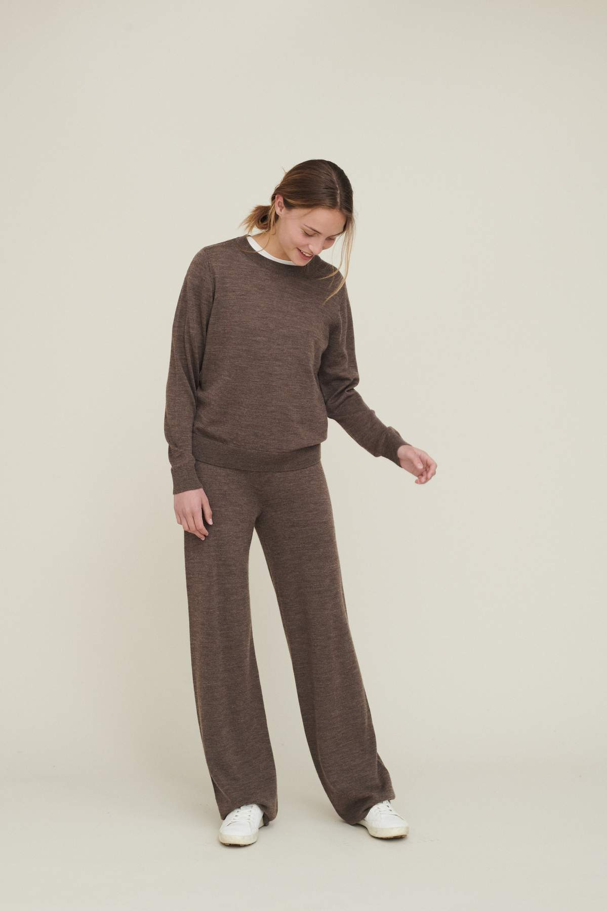 Basic Apparel // Vera wide pants merino - brown melange