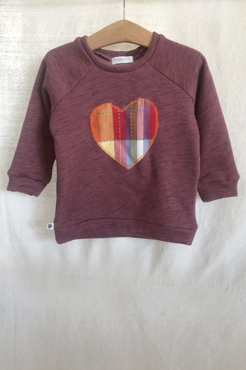 Mauve Fleece Heart Sweatshirt