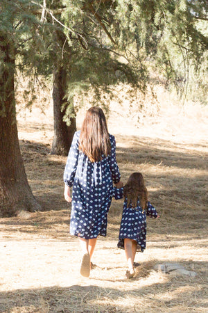 Kid's India Dress in Navy Ikat
