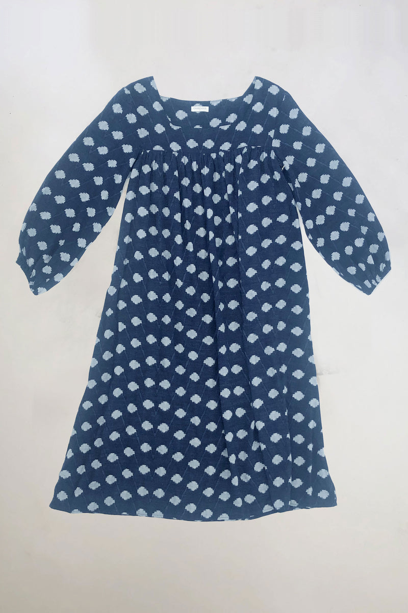 Women's India Dress in Navy Ikat