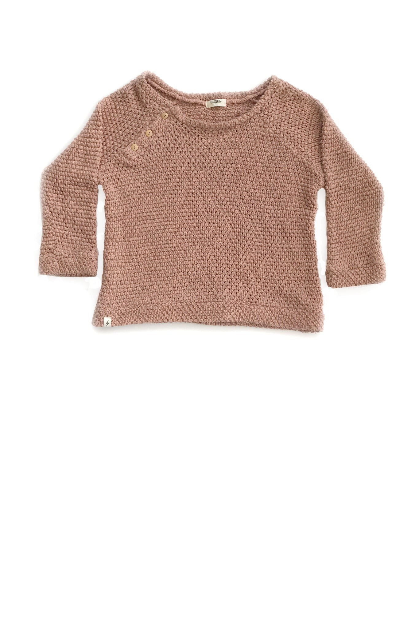 Button Sweater in Mauve