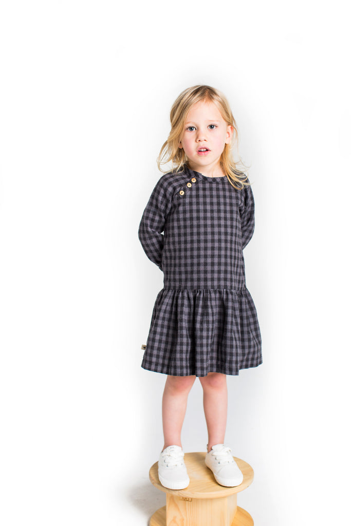 Button Dress in Check