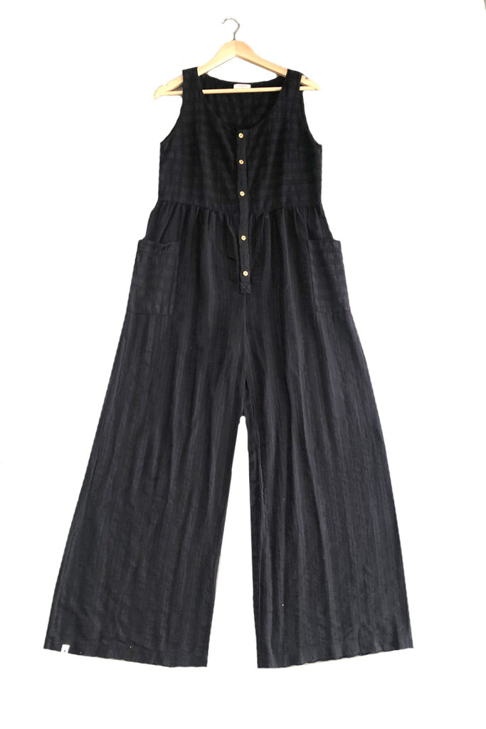 Front Button Jumpsuit in Black