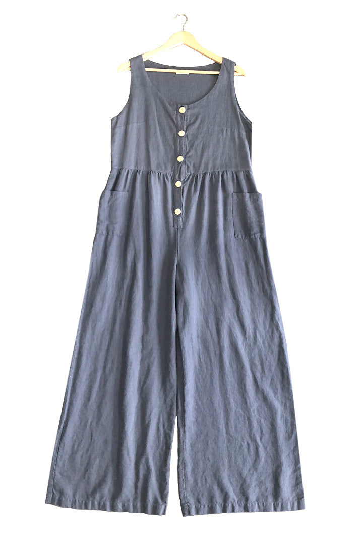 Front Button Linen Jumpsuit in Jeans Blue