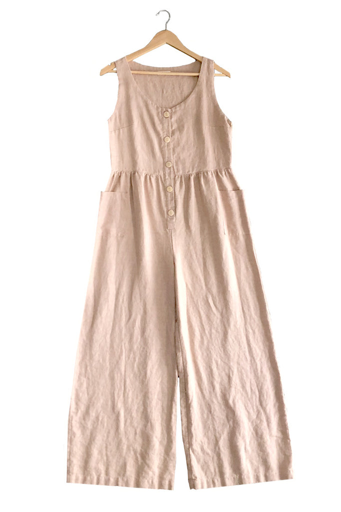 Front Button Linen Jumpsuit in Nude