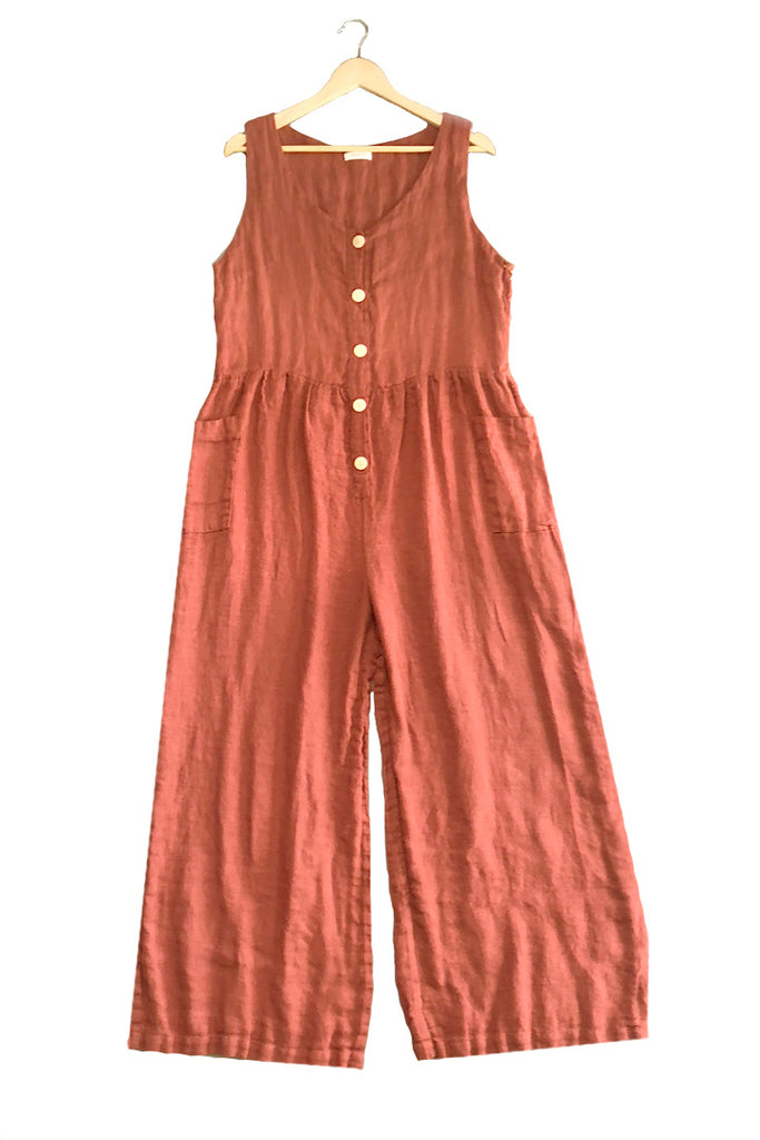 Front Button Linen Jumpsuit in Rust