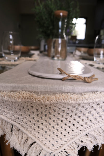 Macrame and linen Table runner