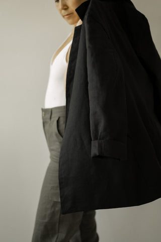 Black Lined Linen Blazer