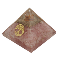 "Orgone Pyramid Healing Crystal Large 3"" Rose Quartz with Tree of Life"