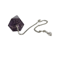 Orgone Amethyst 6 Faceted Cone Pendulum - Healing Chakra Stone Crystal