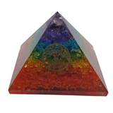 "Orgone Pyramid Healing Crystal Large 3"" 7 Layer Chakra with Tree of Life"