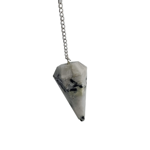 Rainbow Moonstone Pendulum Pendant 6 Faceted Cone - Healing Chakra Stone Crystal