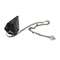 Black Tourmaline Pendulum Pendant Faceted Cone - Healing Chakra Stone Crystal