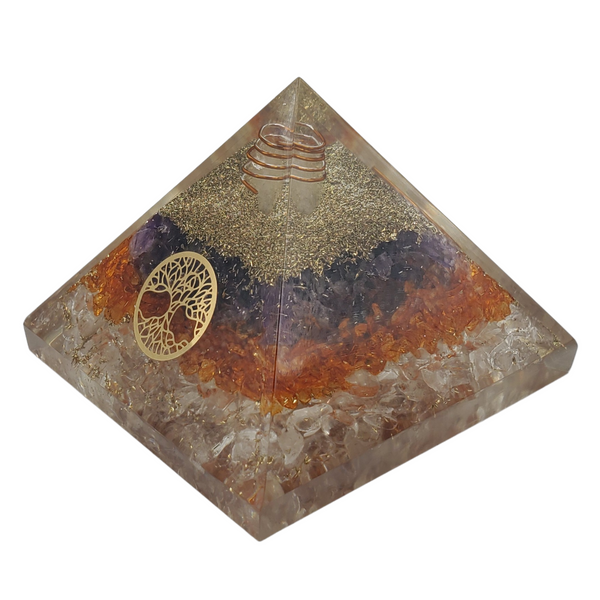 "Orgone Pyramid Healing Crystal Large 3"" Three Layer with Tree of Life"