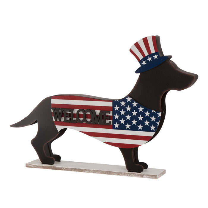 Metal/Wooden Patriotic Double Sided HOME/WELCOME Dachshund Decor