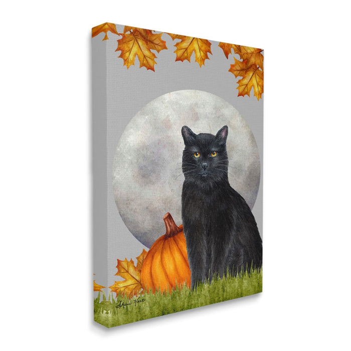 Black Cat and Full Moon Autumn Leaves Pumpkins Wall Art