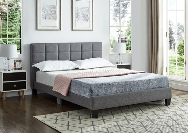 IF 5423 - Grey Fabric Bed - Queen / Grand Lit