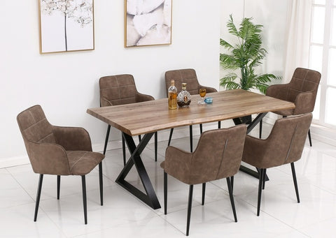 T 1811 - Wood Dining Table with Black Metal Legs