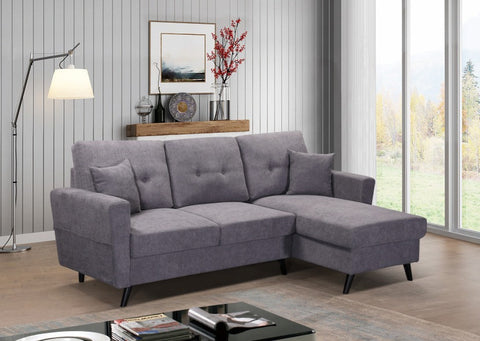 IF 9098 - Grey Fabric Reversible Sofa Bed - Canapé Lit Réversible Gris