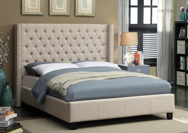 IF 5898 - Beige Fabric Wing Bed - King / Tres Grand Lit