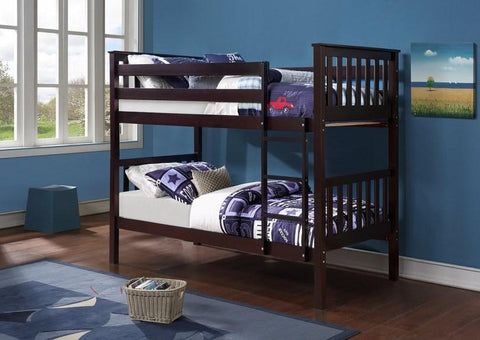 B 101 E - Single / Single - Bunk Bed - Espresso - Lit Superposé