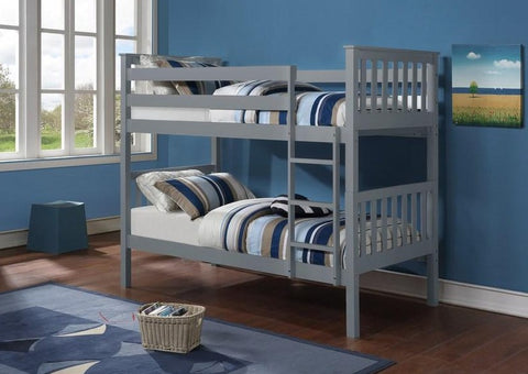 B 101 G - Single / Single - Bunk Bed - Grey - Lit Superposé