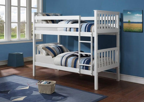 B 101 W - Single / Single - Bunk Bed - White - Lit Superposé
