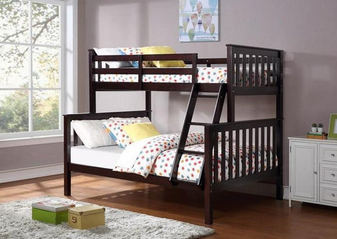 B 102 E - Single / Double - Bunk Bed - Espresso - Lit Superposé