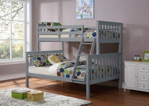 B 102 G - Single / Double - Bunk Bed - Grey - Lit Superposé