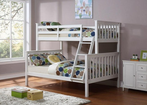 B 102 W - Single / Double - Bunk Bed - White - Lit Superposé