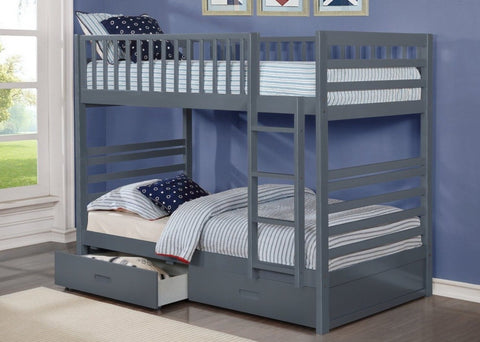 B 110 G - Single / Single Bunk Bed with Drawers- Grey